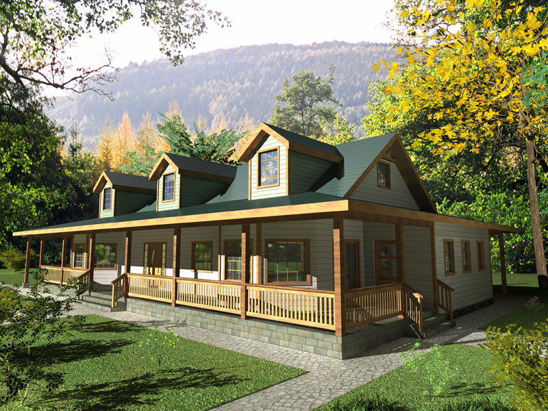 Cabin and Cottage Plan Front of Home 088D-0333