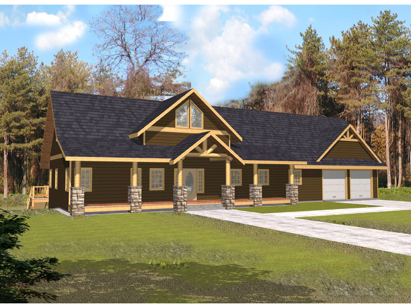 Log Cabin Plan Front of Home 088D-0339