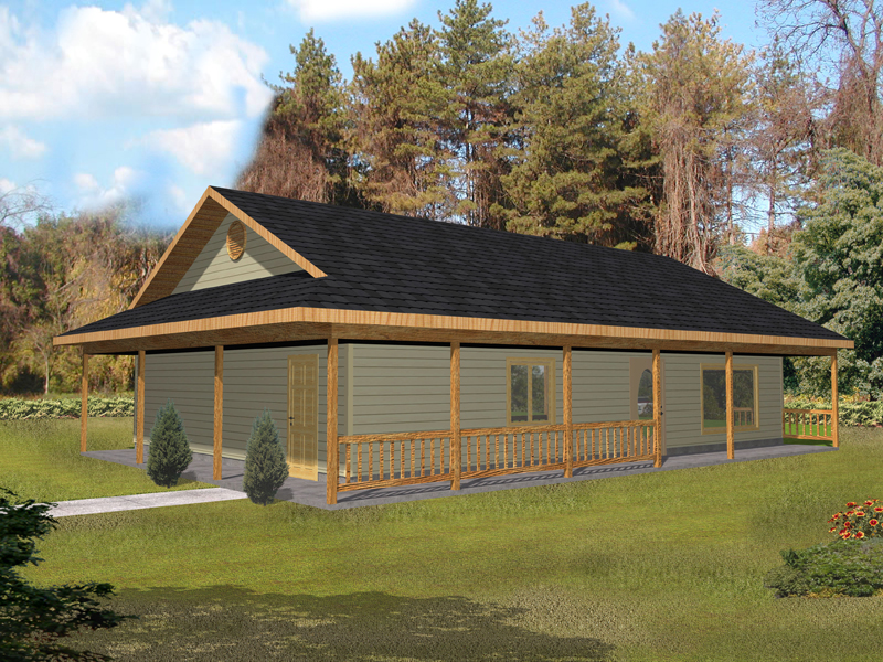Cabin and Cottage Plan Front of Home 088D-0351