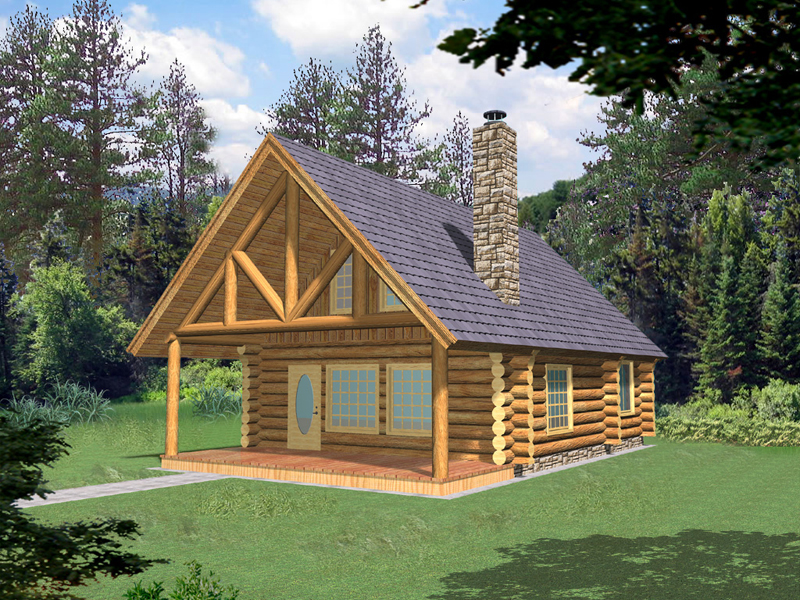 Log Cabin Plan Front of Home 088D-0355
