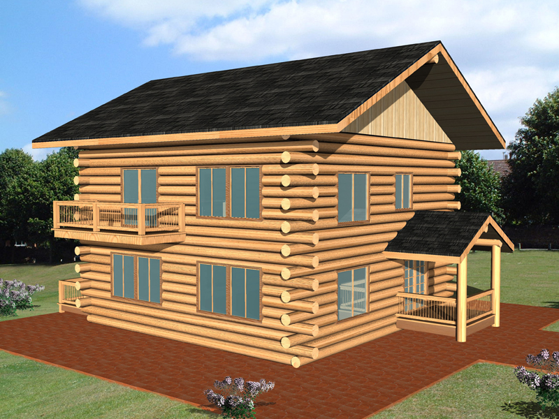 Log Cabin Plan Front of Home 088D-0356