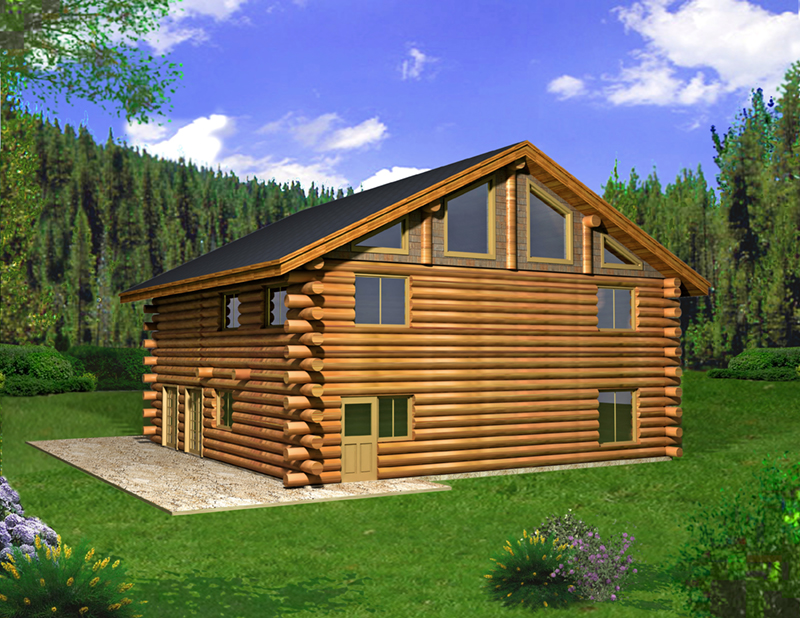 Log Cabin House Plan Front of Home - 088D-0404 | House Plans and More