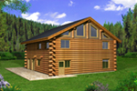 Log House Plan Front of Home - 088D-0404 | House Plans and More