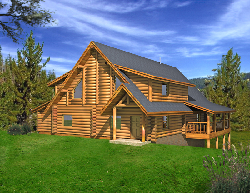Log House Plan Front of Home -  088D-0405 | House Plans and More