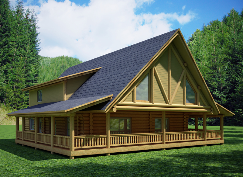 Log Cabin House Plan Front of Home -  088D-0409 | House Plans and More