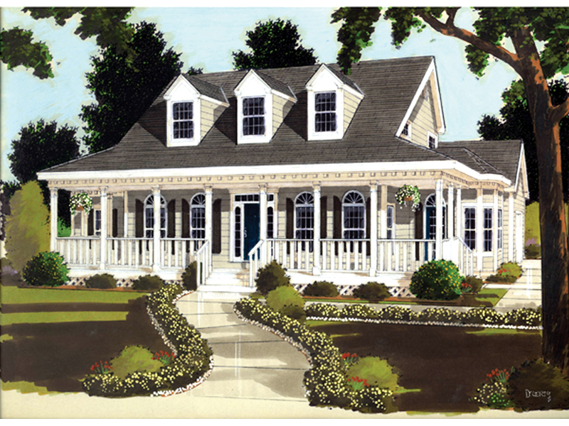 Gracious Country Style Home With Arch Windows Across The Front