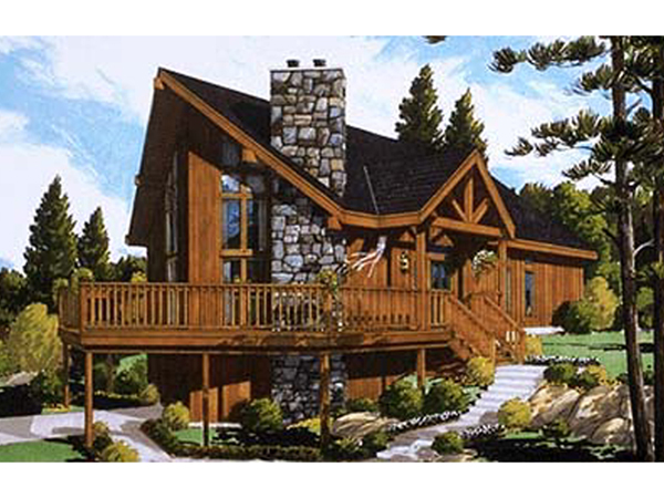 Huelett rustic a frame home plan 089d 0017 house plans for Rustic a frame cabin