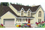 Country Style Two-Story Has Arched Windows And Pleasing Porch