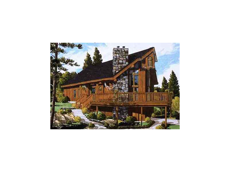 Stone Chimney And Wrap-Around Deck Capture This A-Frame Style