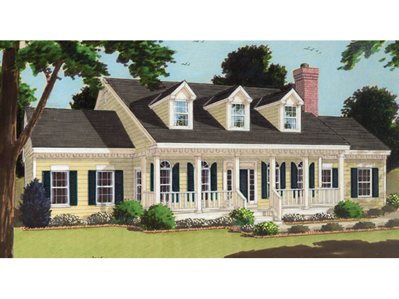 Elegant Southern Home With Covered Porch And Triple Dormers