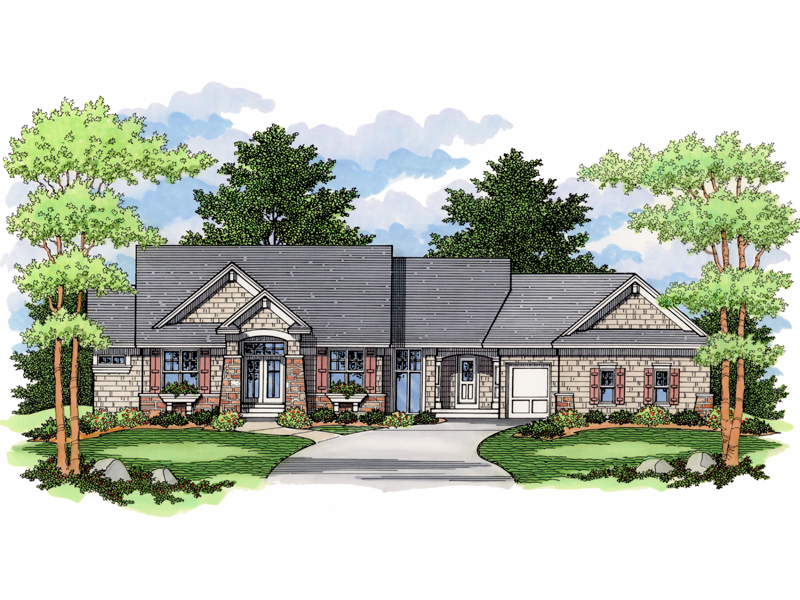 A Combination Of Stone And Brick Plus Craftsman Style Details