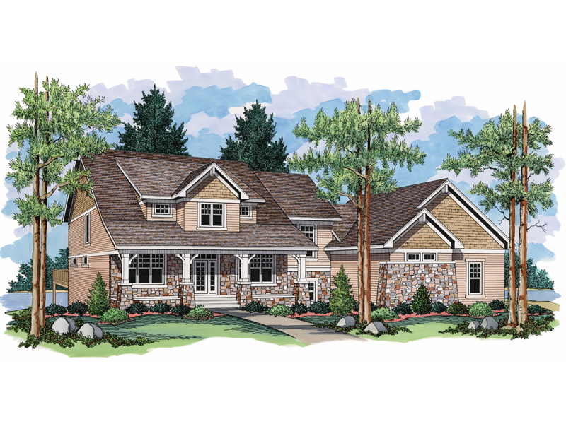 Two-Story Craftsman Style Charmer With Covered Front Porch And Stone Details