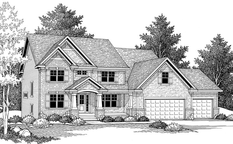 Arts and Crafts House Plan Front Image of House 091D-0027