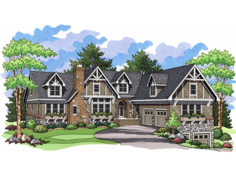 Kiel place luxury tudor home plan 091d 0033 house plans for Luxury brick house plans