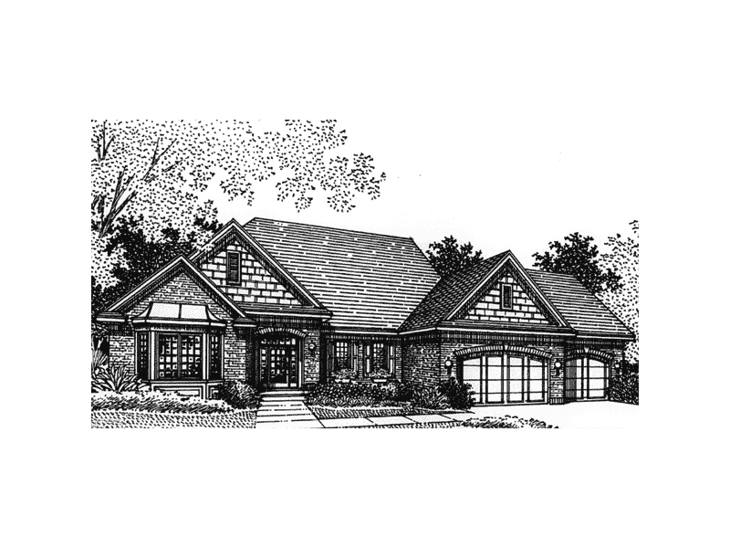 Great-Looking Ranch Home Design With Three-Car Garage