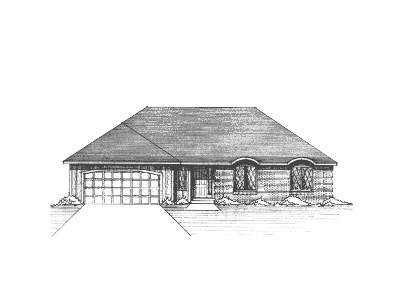 Ranch House Plan Front of Home - 091D-0047 | House Plans and More