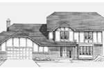 Two-Story Tudor Style House With Hip Roof