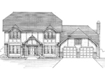 Tudor Style House Has Great Woodwork Trim And Hip Roof