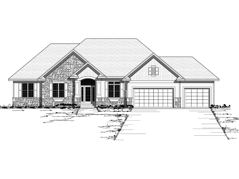 Ranch House Plan Front of Home 091D-0417