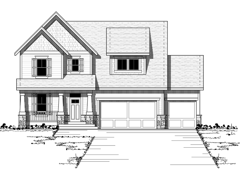 Simplistic Craftsman Style Two-Story Home