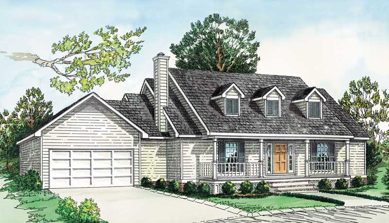 Cape Cod Style Home With Triple Dormers And Covered Front Porch