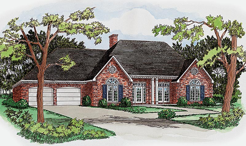 Symmetrical Brick Ranch Home Design