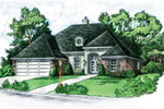 European Style Ranch Has Great Hip Roof Design And Stucco Around The Entry