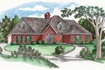 Striking All Brick Ranch Home With Hip Roof Design