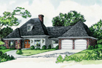 Traditional Country Home With Arched Front Entry