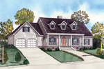 Southern Country Style Home With Pleasant Front Covered Porch