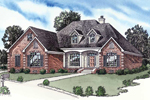Striking Brick Ranch House Has Covered Front Porch And Decorative Quoins