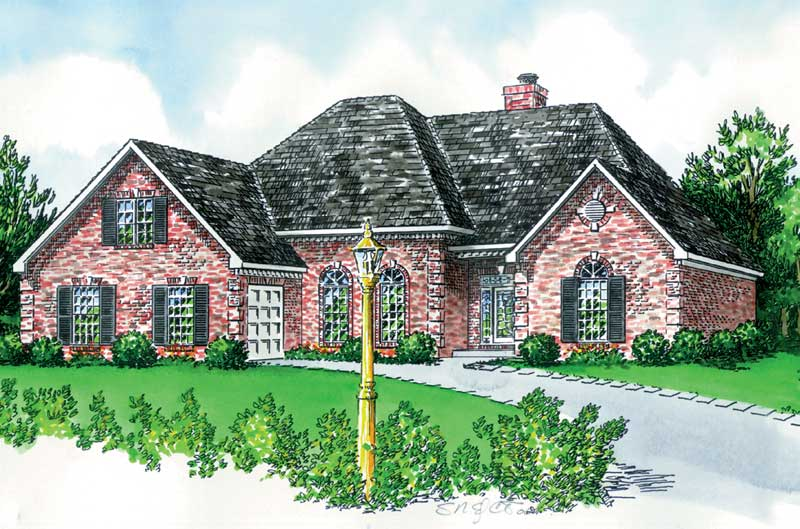 Ranch Home Wrapped In Brick With Subtle European Style