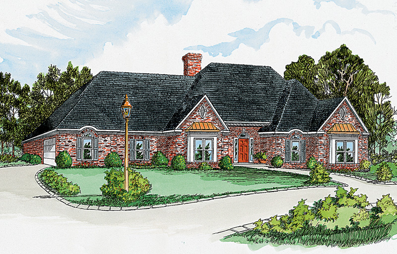 Traditional Style Ranch With Brick And Bay Windows Topped With Copper Roofs