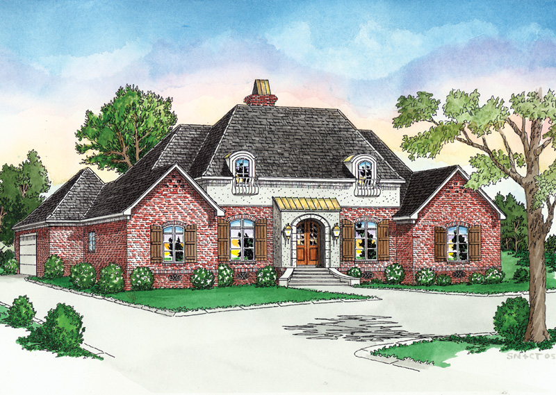 European Inspired Two-Story With Stucco And Brick Exterior Finish