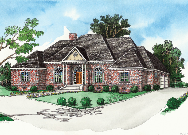 Traditional Ranch Home Has Brick Exterior And Large Arched Windows