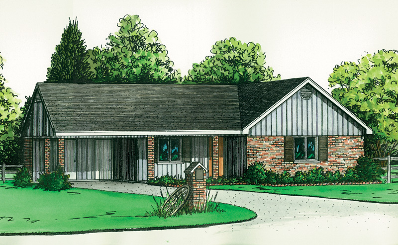 Ranch House Plan Front of Home 092D-0060