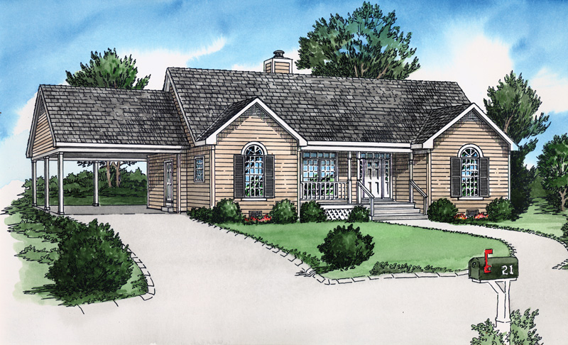 Ranch House Plan Front of Home 092D-0061