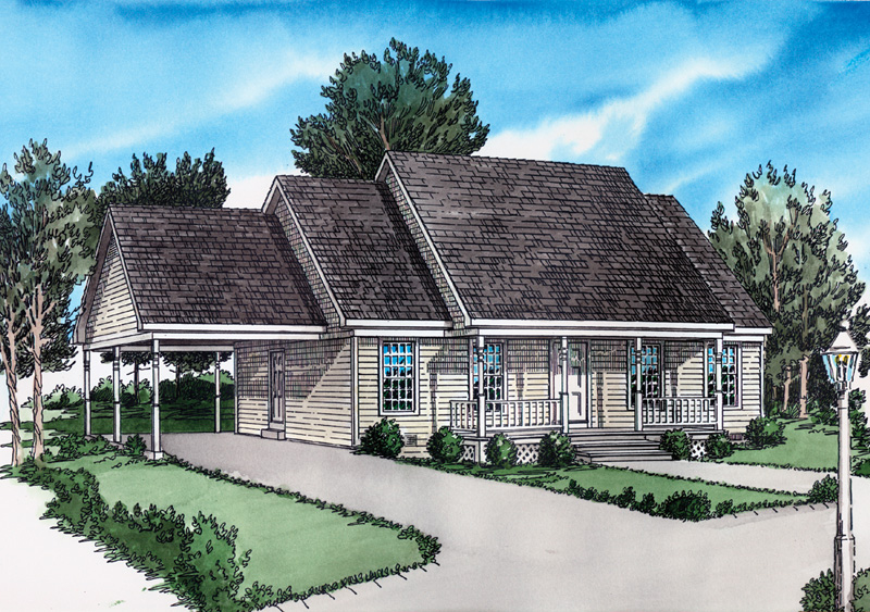Ranch House Plan Front of Home 092D-0062