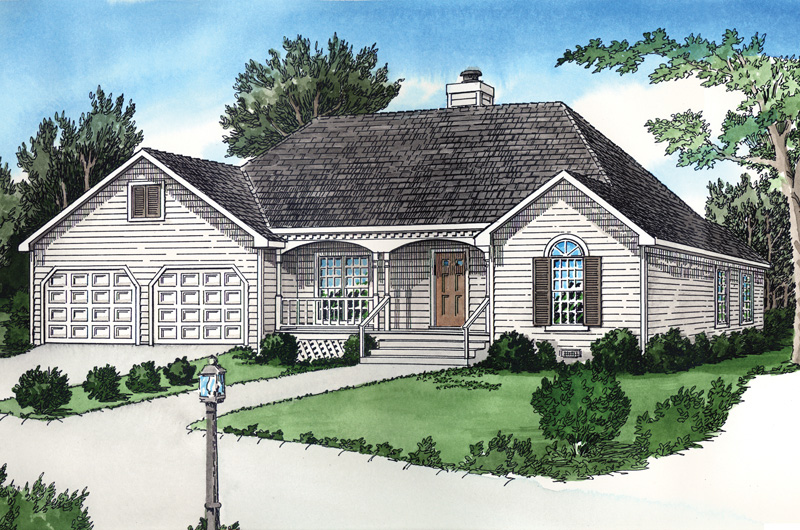 Ranch House Plan Front of Home - 092D-0064 | House Plans and More