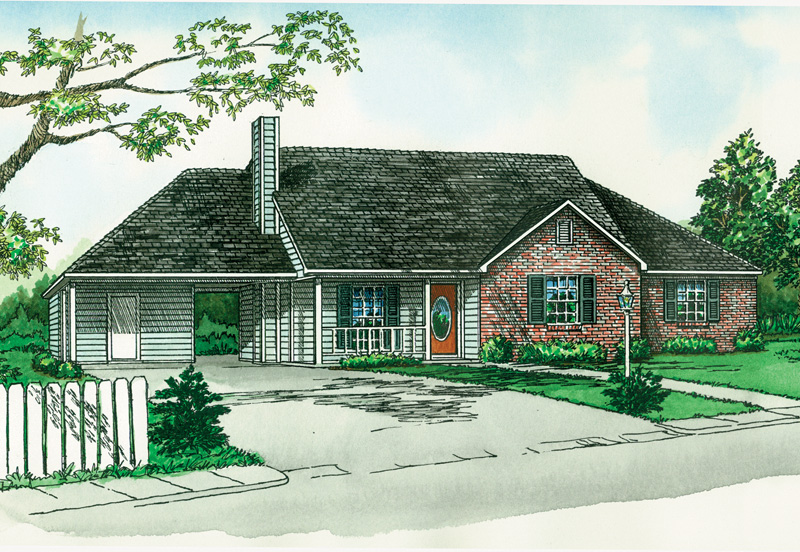 Ranch House Plan Front of Home - 092D-0069 | House Plans and More