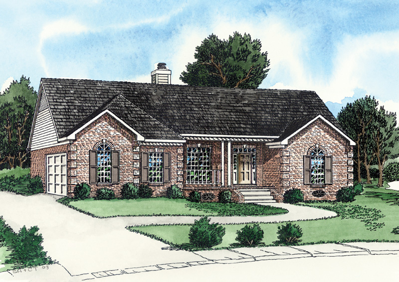 Chester hill ranch home plan 092d 0071 house plans and more for House plans with garage on side