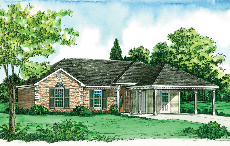 Franciscan ranch home plan 092d 0080 house plans and more for Carport in front of house
