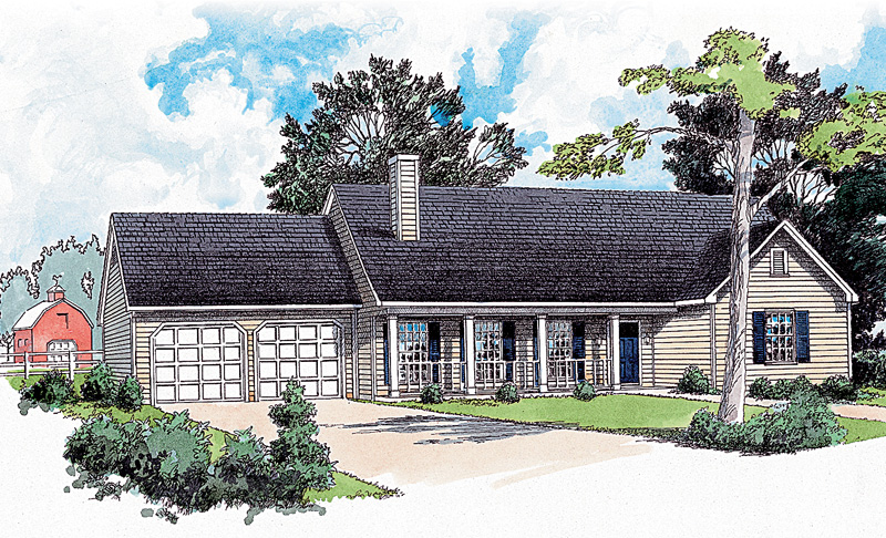 Country Style Ranch With Two-Car Front Loading Garage