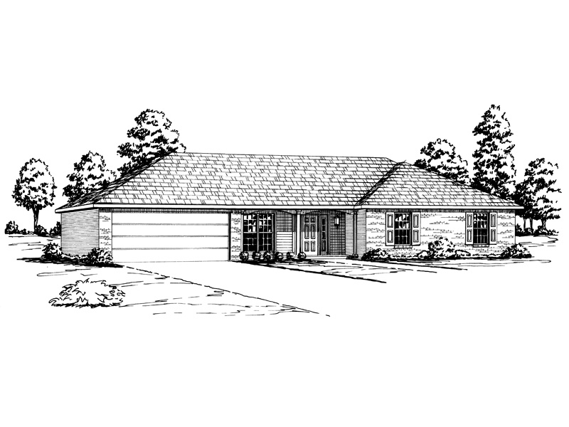 Malcolm traditional ranch home plan 092d 0088 house for Low pitch roof house plans