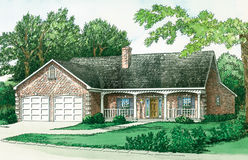 Ranch House Plan Front of Home 092D-0090
