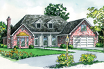 Attractive Ranch Home Has Centered Covered Porch And Twin Dormers