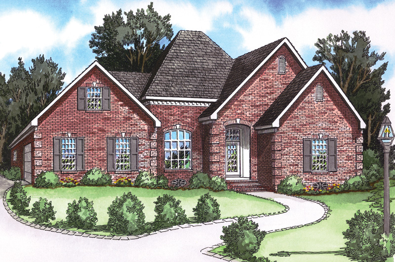 Stylish Brick Ranch Has Unique Roof Line For Great Curb Appeal