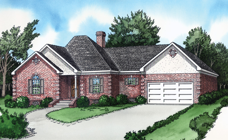 Ranch House Plan Front of Home - 092D-0110 | House Plans and More