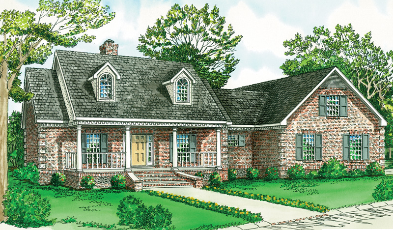 Two Dormers And Covered Front Porch Adorn This Country Home