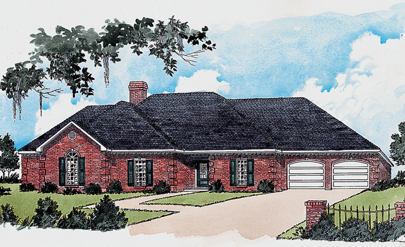 Traditional Ranch Has Brick Exterior And Front Loading Garage